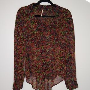 Free People Sheer Floral Blouse Size Small